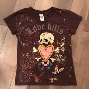 Tops - Brown Ed Hardy tee women's small